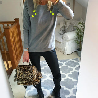 Neon yellow scattered stars grey sweatshirt *just one LARGE left*