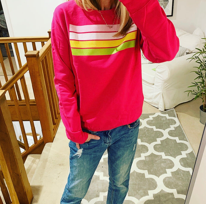Hot pink sweatshirt with stripes (medium size 12-14)