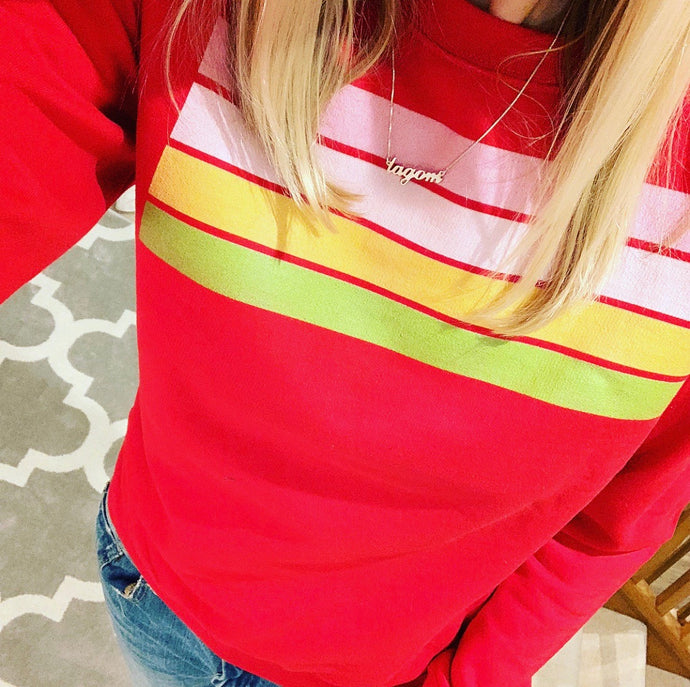 Red sweatshirt with stripes (small size 10-12)