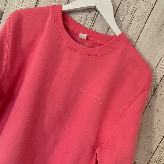 Pink sweatshirt with away with the fairies (size medium, UK 12)