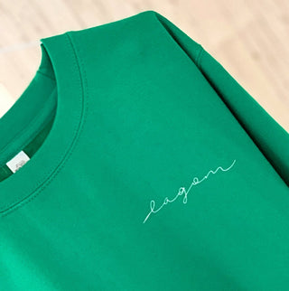LAGOM on bright green sweatshirt