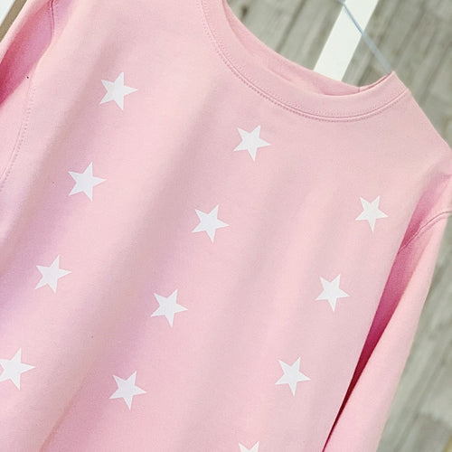 *NEW* Little white stars on a light pink sweatshirt