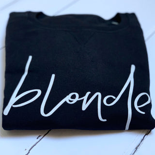 White blonde on black sweatshirt *back in stock again*