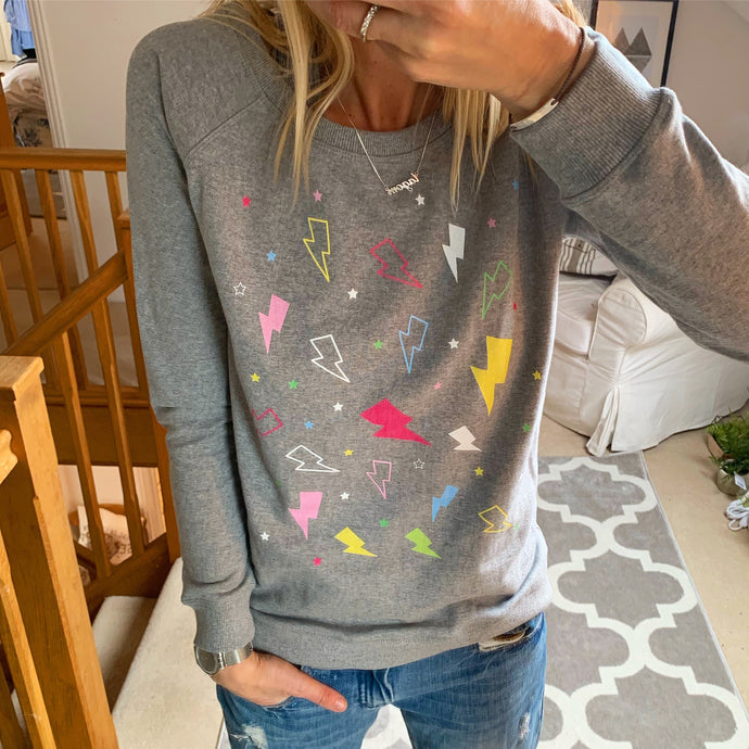 Lightning strikes and stars sweatshirt (small, uk 10)