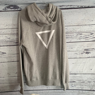 White triangle on back grey hoody (size 12-14)