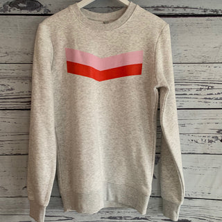 Pink & red chevron on a white/grey sweatshirt (small uk 10)