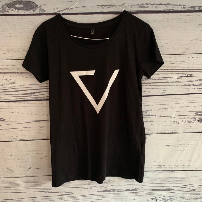 Black tee with part white triangle (Large, UK 14)