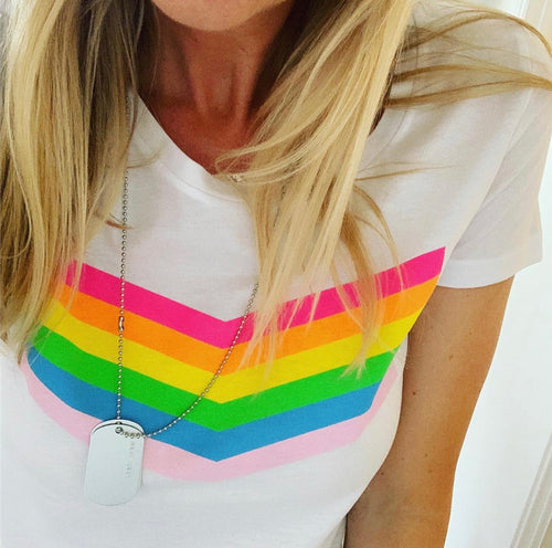 Rainbow chevron white tee