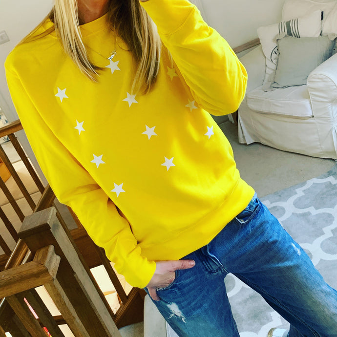 *NEW* Little white stars on a bright yellow sweatshirt