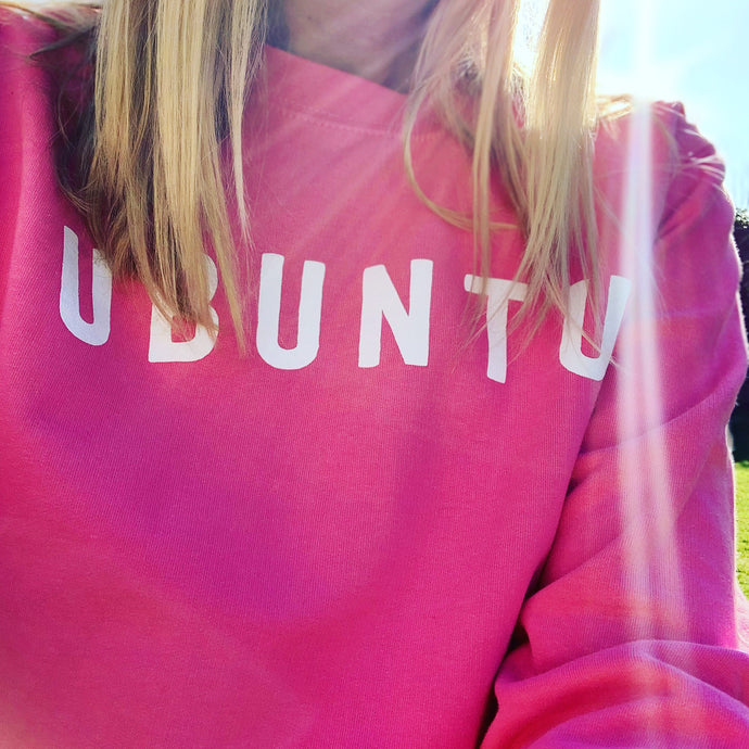 *NEW* White UBUNTU on bright pink sweatshirt