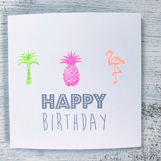 Neon three things birthday card