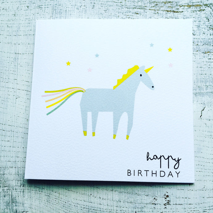 Blue unicorn birthday card