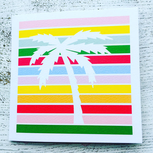 Palm tree on a stripey background card