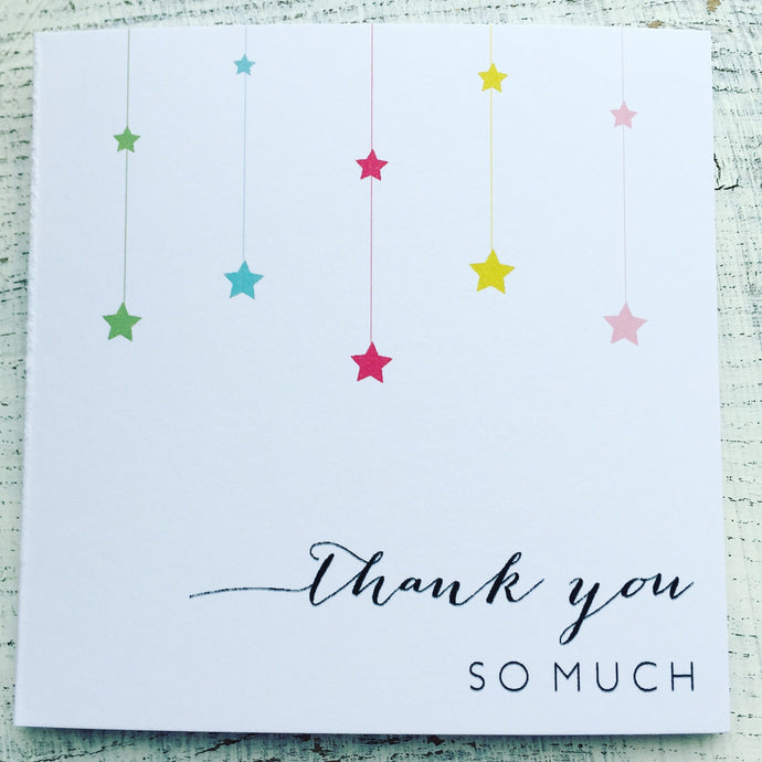 Hanging stars thank you card