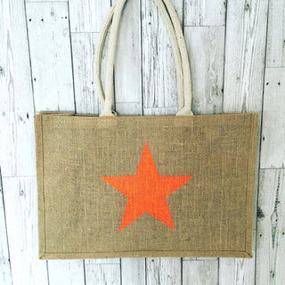 Neon orange star jute shopper