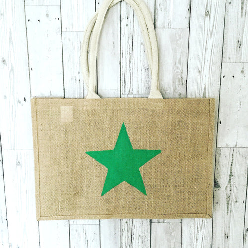 Neon green jute shopper