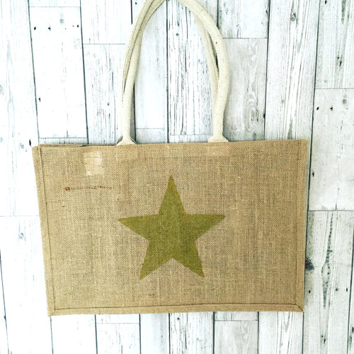 Gold star jute shopper