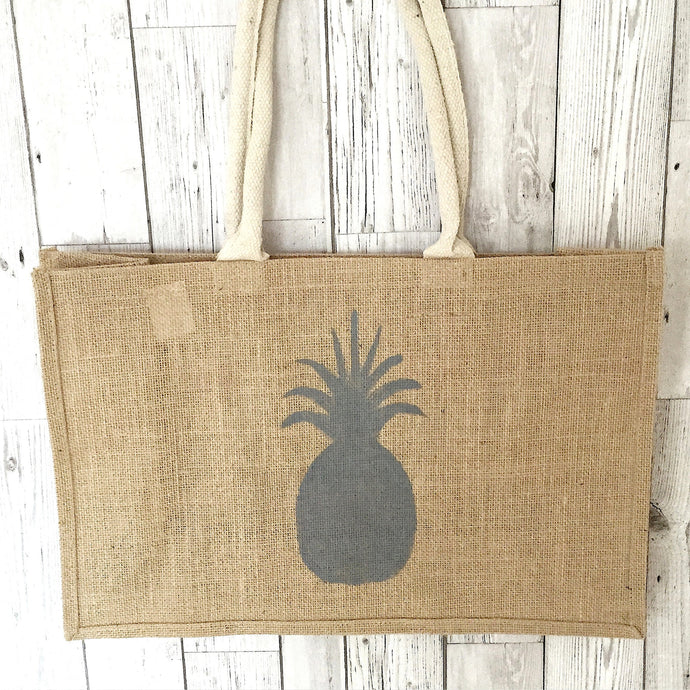 Pineapple jute shopper bag (neon pink or grey/silver)