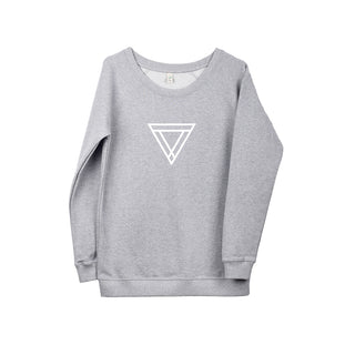 White triangles on light grey sweat