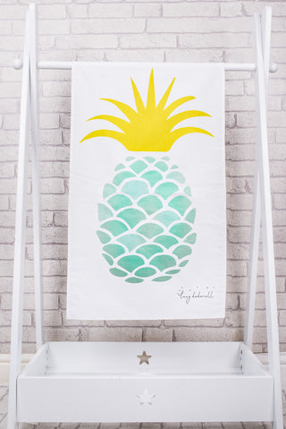 Aqua pineapple tea towel