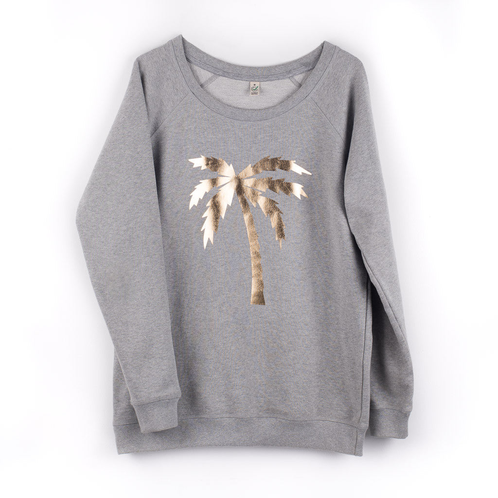 281b162886 Metallic gold palm tree on a light grey sweat – Lucy Dodwell