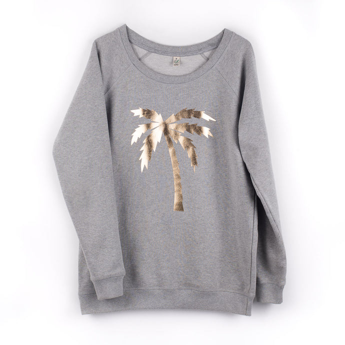 Metallic gold palm tree on a light grey sweat