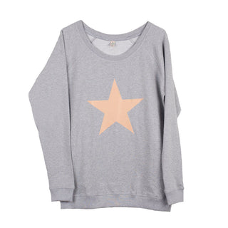 Dusty beige/pink star on a light grey sweat (M)