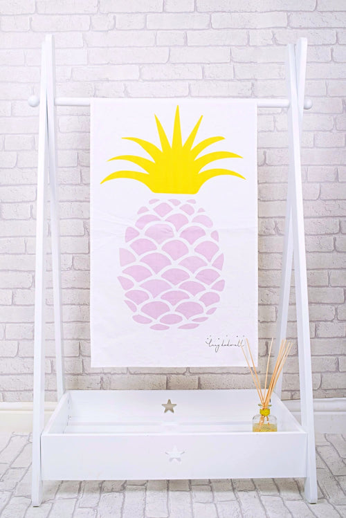 Pink pineapple tea towel
