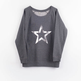 Silver star outline on a dark grey sweat (M)
