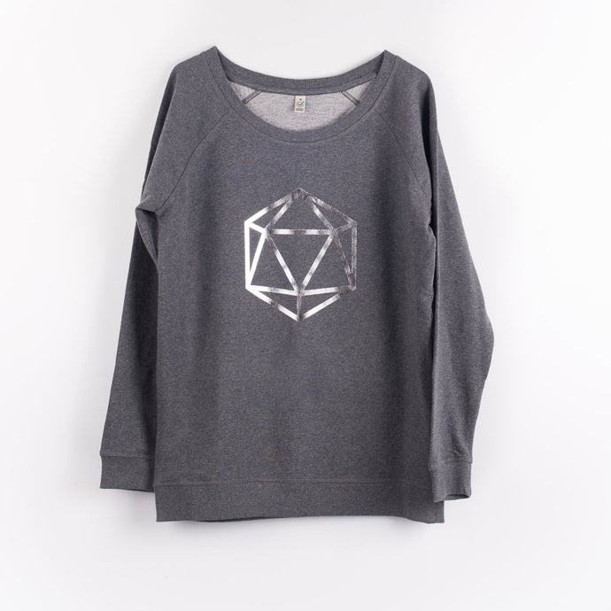 Silver octahedron on a dark grey sweat (M)