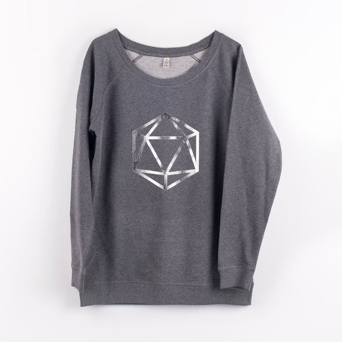 Metallic silver octahedron on a dark grey sweat