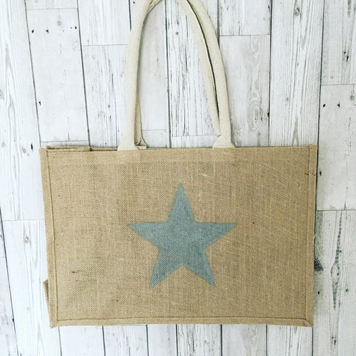 Silver star jute shopper