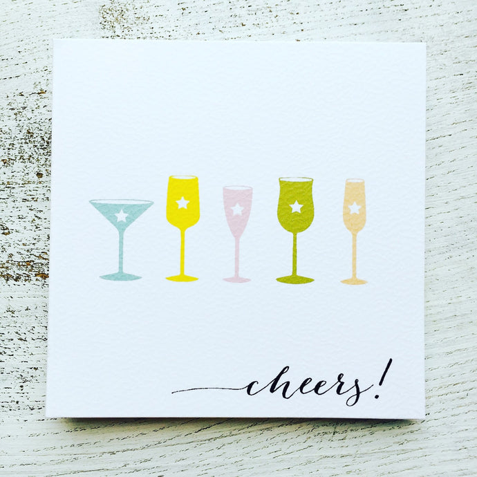 Cocktail glasses cheers! card
