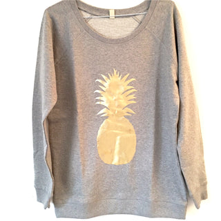 Light grey sweatshirt with gold pineapple