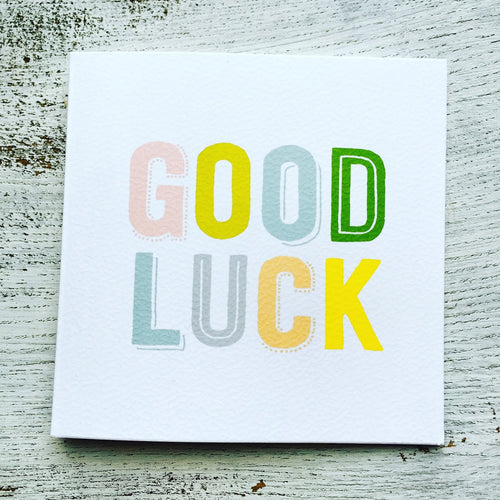 Good luck colourful text card
