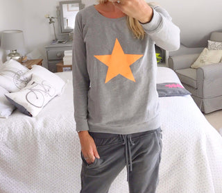 Neon orange star light grey sweat *just a few left!*