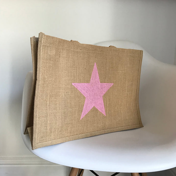 Light pink star jute shopper
