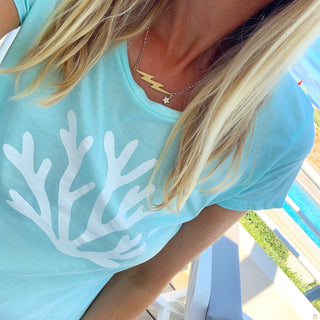 White coral on sea green tee