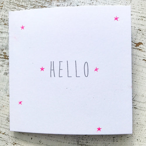Hello little neon pink stars scattered card