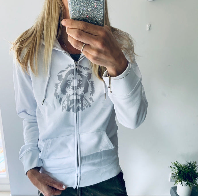 White zip hoody with lion (size 12-14)