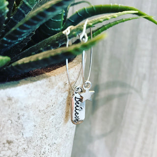 Star / believe mismatch hoop earrings