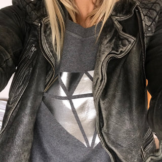 Silver diamond on dark a dark grey sweat (M)