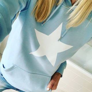 Sky blue hoody with a white star * just XL left now*