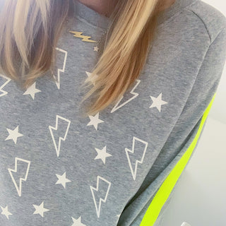 Lightning & stars grey sweatshirt with neon yellow arm stripes!