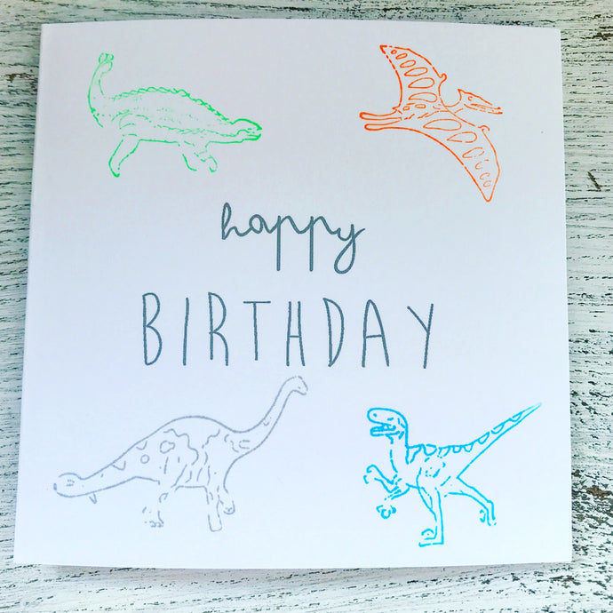 Neon dinosaur birthday card