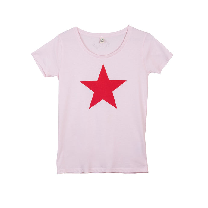 Red star on pink tee *just a few left*