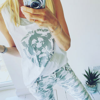 *NEW* grey lion white vest top