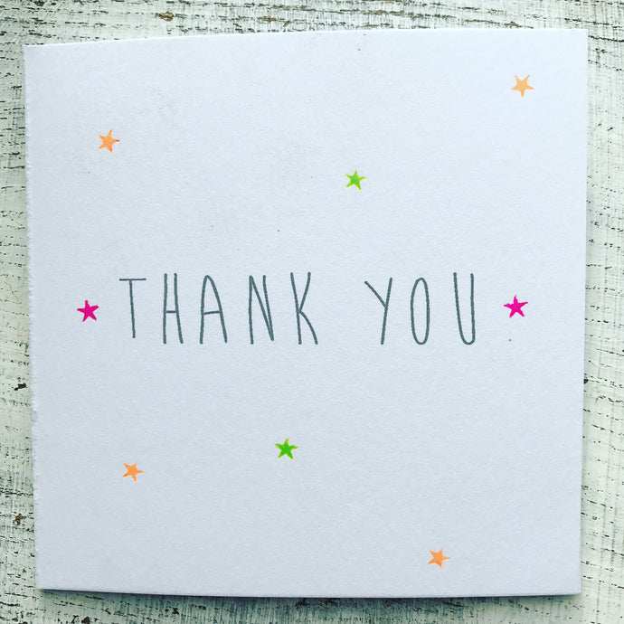 Thank you tiny neon scattered stars card