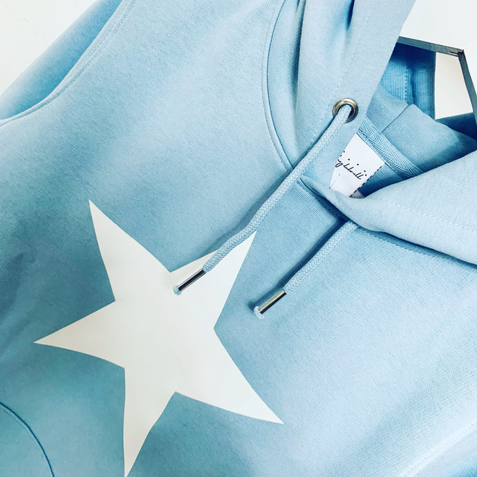 *NEW* Sky blue hoody with a white star