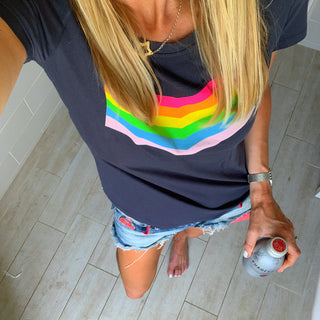 Rainbow chevron charcoal tee